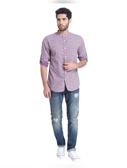 Purple Printed Full Sleeves Shirt