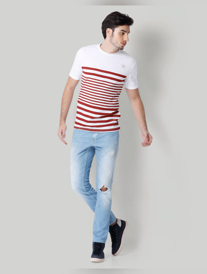 White Striped Crew Neck T-Shirt