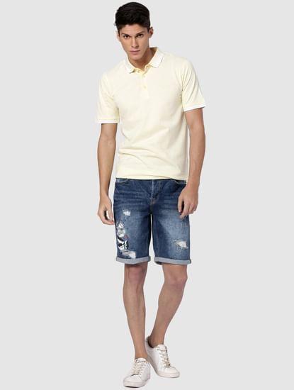 Blue Distressed Denim Shorts