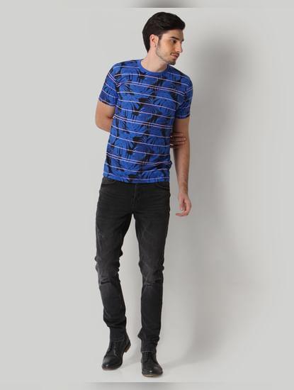 Black Tropical Print Crew Neck T-Shirt