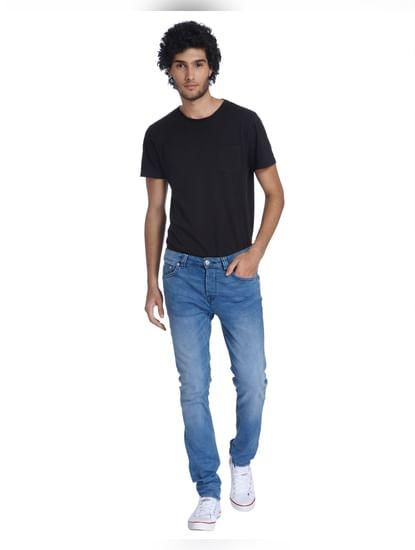 Light Blue Warp Skinny Fit Jeans