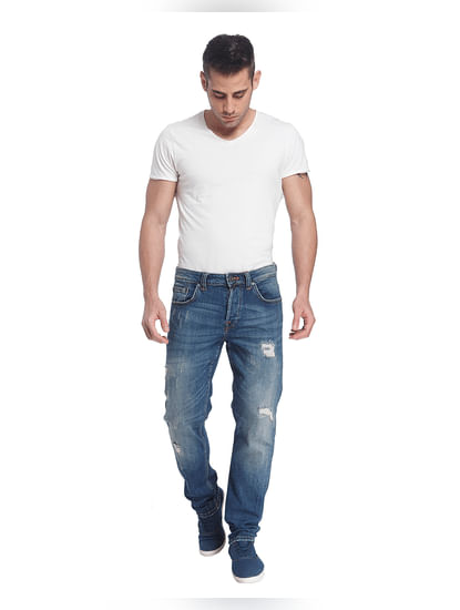 Blue Ripped Weft Regular Fit Jeans