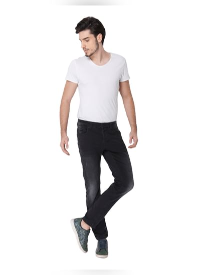 Black Faded Loom Slim Fit Jeans