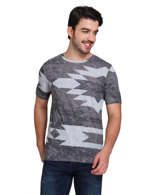 Grey Abstract Print Crew Neck T-shirt