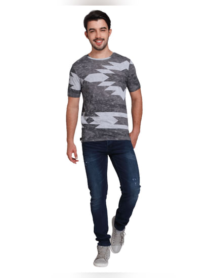 Grey Abstract Print Crew Neck T-shirt