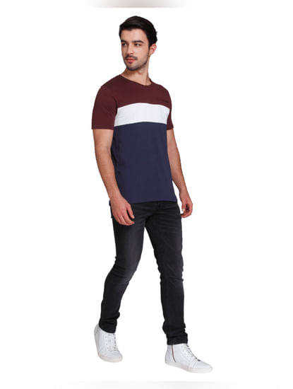 Red Colour Blocked Crew Neck T-shirt