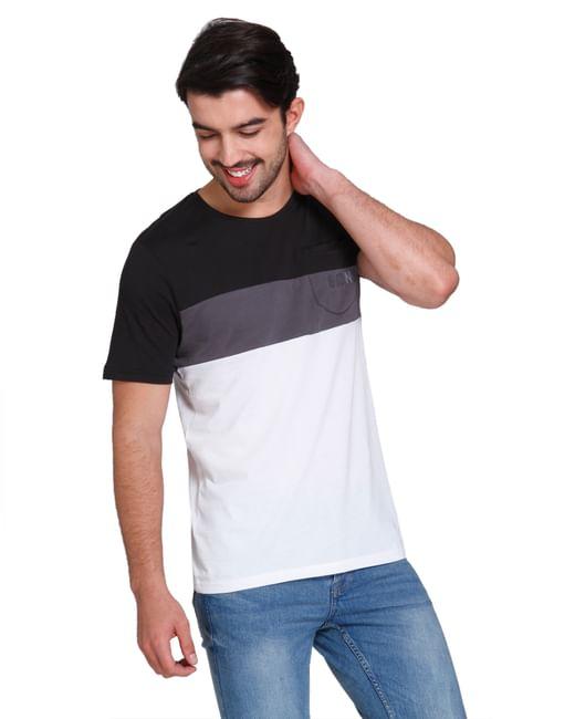 Black Colour Blocked Crew Neck T-shirt