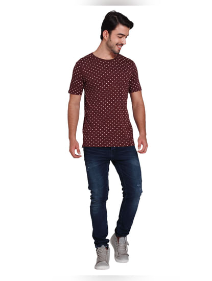 Burgundy All Over Print T-shirt