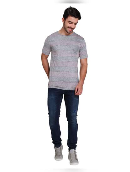 Grey Striped Crew Neck T-shirt