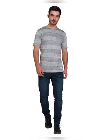 Light Grey Striped Crew Neck T-shirt