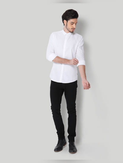 White Linen Full Sleeves Shirt