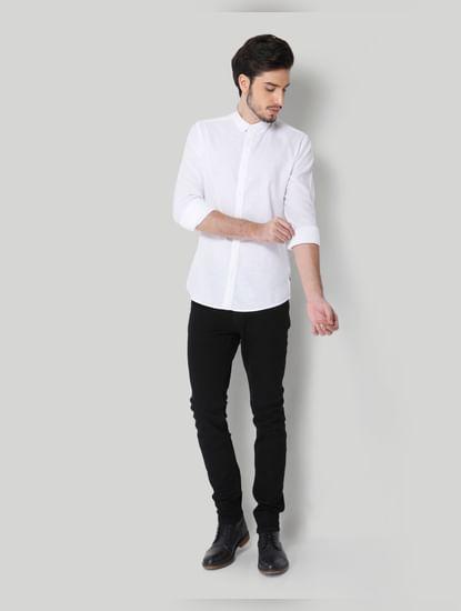 White Linen Full Sleeves Shirt
