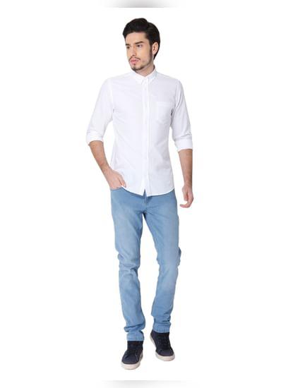 White Slim Fit Full Sleeves Shirt