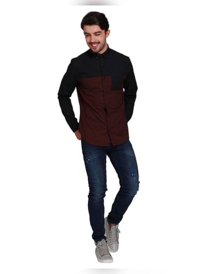 Black Colour Blocked Full Sleeves Shirt
