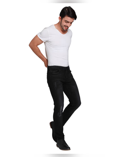 Black Distressed Warp Skinny Fit Jeans