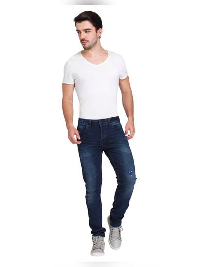 Dark Blue Distressed Warp Skinny Fit Jeans