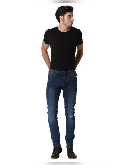 Dark Blue Knee Ripped Warp Skinny Fit Jeans