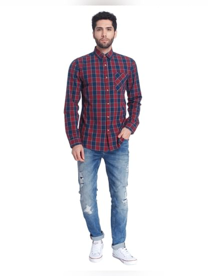 Navy Check Full Sleeves Shirt