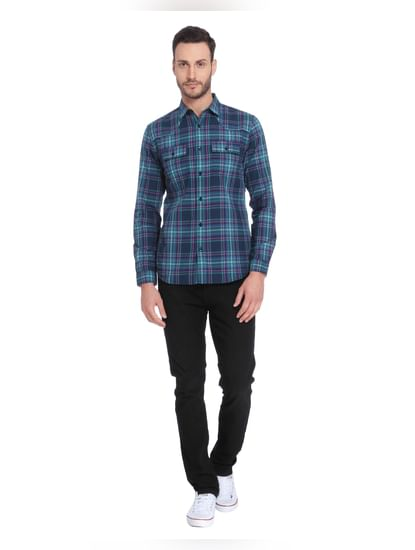 Light Blue Check Full Sleeves Shirt