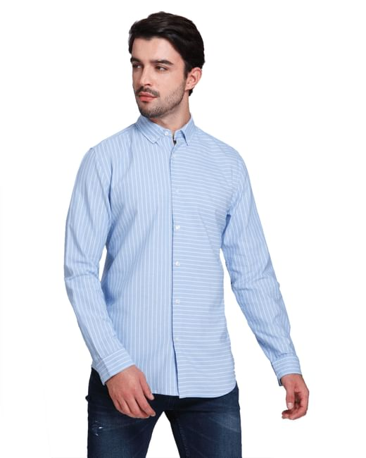 Light Blue Striped Full Sleeves Shirt