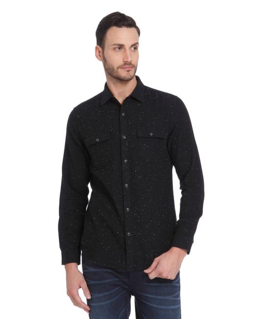 Black Printed Full Sleeves Shirt
