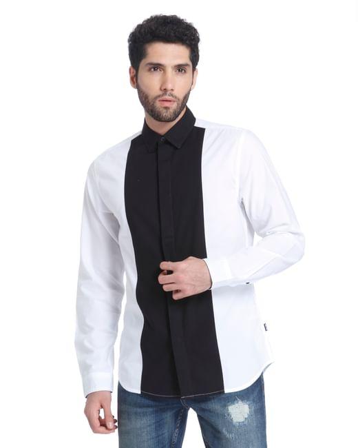 White Colour Blocked Full Sleeves Shirt