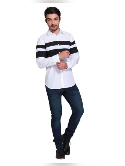 White Striped Full Sleeves Shirt