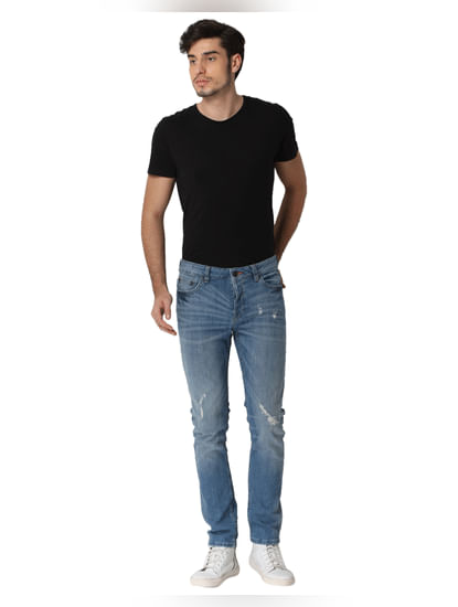 Light Blue Distressed Loom Slim Fit Jeans