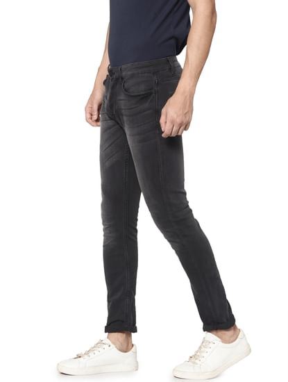 Dark Grey Washed Loom Slim Fit Jeans