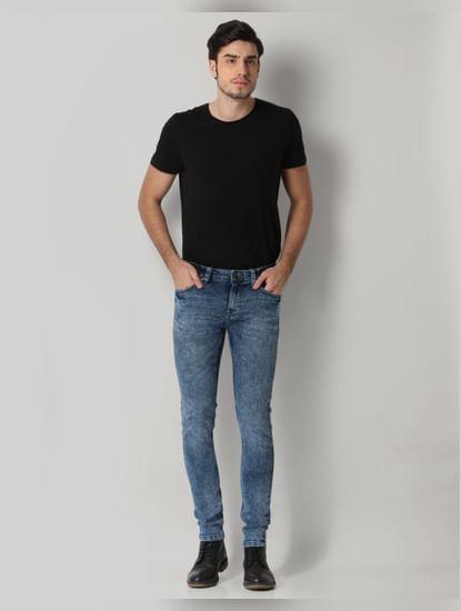 Blue Washed Warp Skinny Fit Jeans