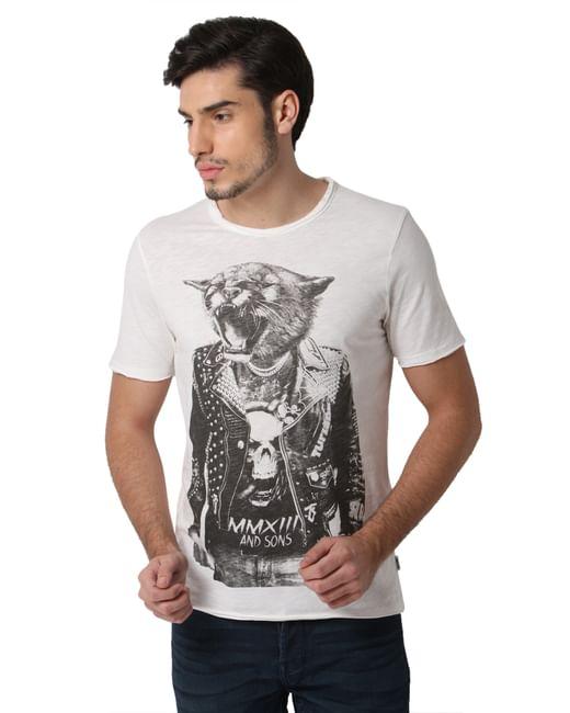White Graphic Print Crew Neck T-shirt