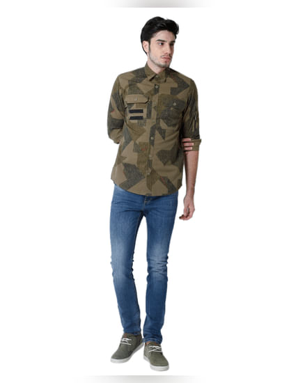 Green Printed Full Sleeves Shirt