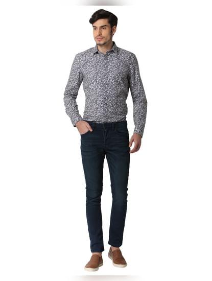 Grey Printed Full Sleeves Shirt