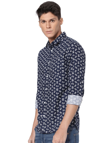 Dark Blue Floral Print Full Sleeves Shirt