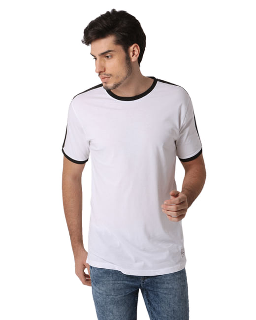 White Contrast Tipping Crew Neck T-shirt