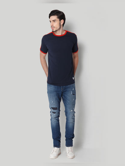 Navy Blue Contrast Tipping Crew Neck T-shirt