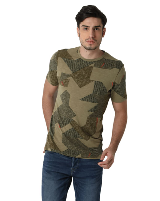 Green Printed Crew Neck T-shirt