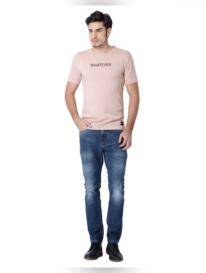 Rose Text Print Crew Neck T-shirt