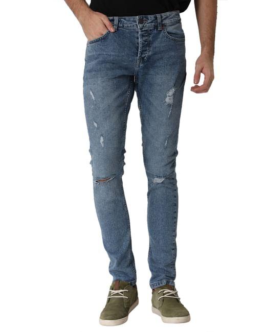 Blue Mildly Ripped Spun Slim Fit Jeans