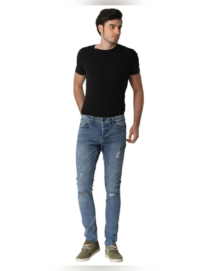 Blue Mildly Ripped Spun Slim Fit Jeans