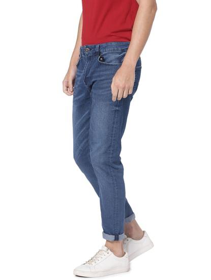 Blue Raw Edge Warp Skinny Fit Jeans