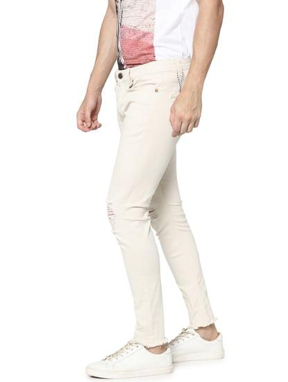 Cream Knee Ripped Warp Skinny Fit Jeans