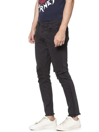 Black Knee Ripped Warp Skinny Fit Jeans
