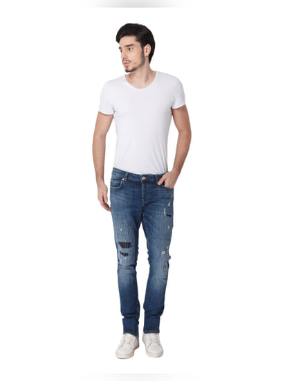 Blue Ripped Patch Detail Spun Slim Fit Jeans