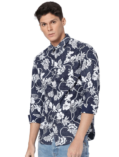 Blue Floral Print Full Sleeves Shirt