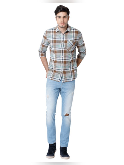 Brown Check Full Sleeves Shirt