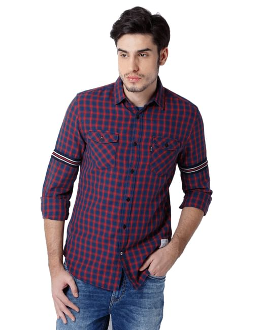 Red Check Band Detail Shirt