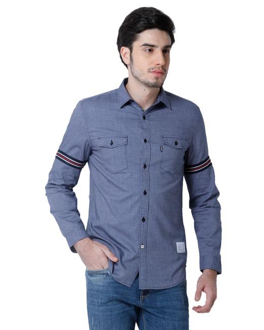 Blue Band Detail Full Sleeves Shirt
