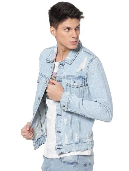 Light Blue Distressed Denim Jacket