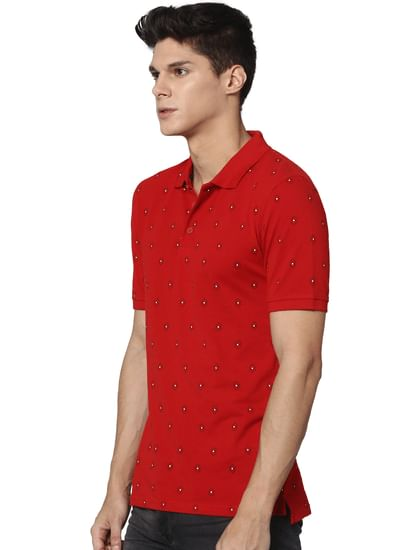 Red All Over Print Polo Neck T-shirt